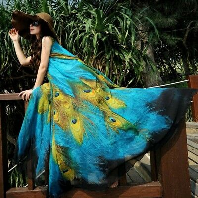 Elegant Chiffon Women Party Boho Dress Peacock Print Long Beach Sleeveless - Peacock Party