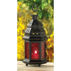 Red Glass Moroccan Lantern Candle Holder BRAND NEW