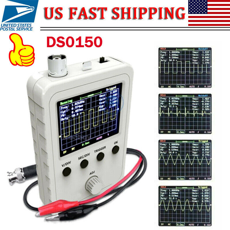 """Portable Assembled DSO150 2.4"""" inch LCD Display Digital Oscilloscope with Probe"""