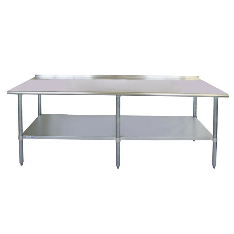 "30"" x 96"" Stainless Steel Commercial Kitchen Work Table Back splash"