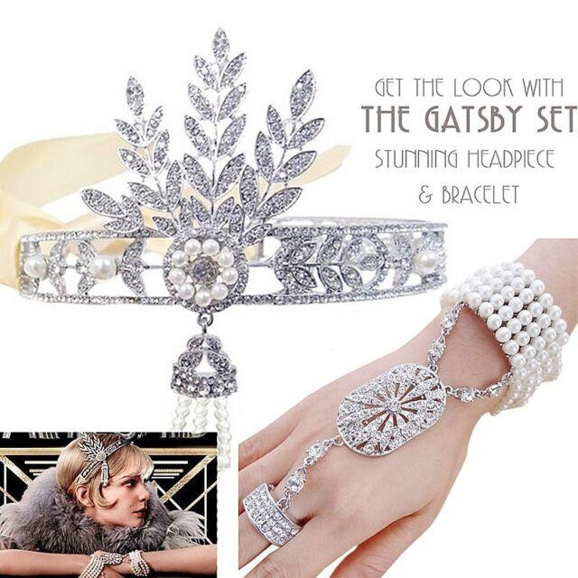 1920s Great Gatsby Headpiece Bracelet Ring Set Bridal Flapper Headband JW2084