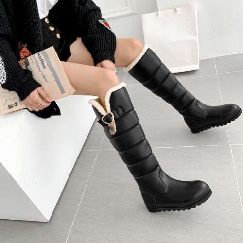 Bottes hautes genou talons femmes chaussures neige chaudes d'hiver taille b