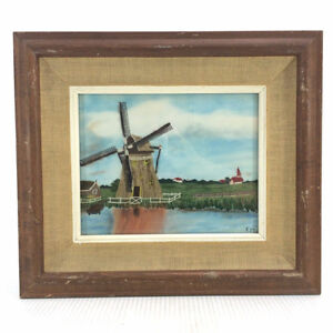 Vintage String Art Painting Picture Windmill Country Farm 15x13