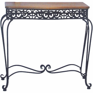 River of Goods Black Fretwork Scroll Console Table, New