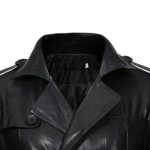 Leather Jacket Double Breasted Belted Trench Coat Mens Wind Breaker Faux leather