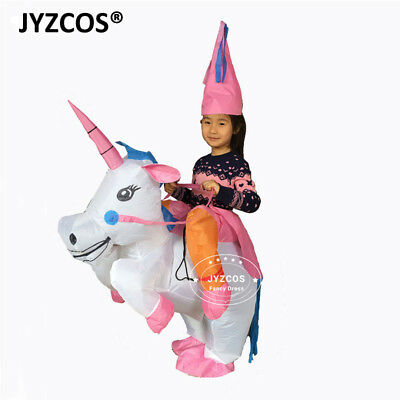 Inflatable Unicorn Rider Costume Halloween Xmas Blowup Outfit Adult Kids Clothes - Unicorn Rider Costume