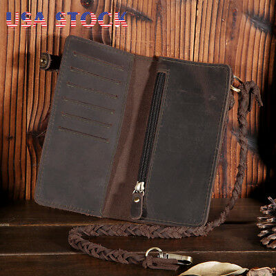Genuine Leather Men's Long Wallet Biker Trucker Purse Bifold Credit Card Holder