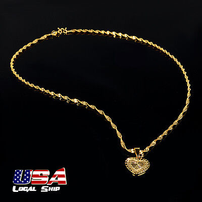 Fashion Women 18K Gold Plated Jewelry Double Heart Pendant 47Cm Chain Necklace