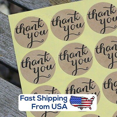 Elegant Kraft Paper Thank You Stickers  Script Font  Round Bakery Seal