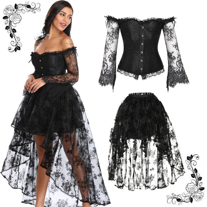 enjoy best price release date: Sales promotion Details about Women Steampunk Victorian Off Shoulder Corset Top with High  Low Skirt Dance Ball