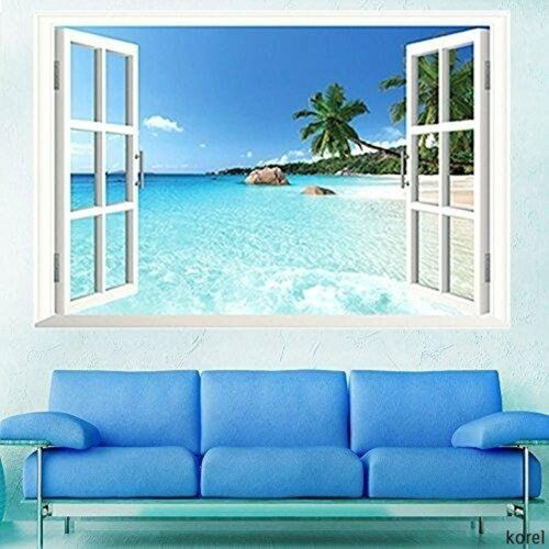 3D Window Decal WALL STICKER Home Decor Exotic Beach View Art Wallpaper Mural US 3