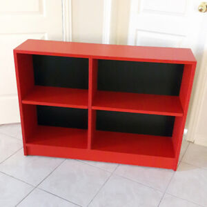 Red Solid Wood Shelf Bookcase Adjustable Height
