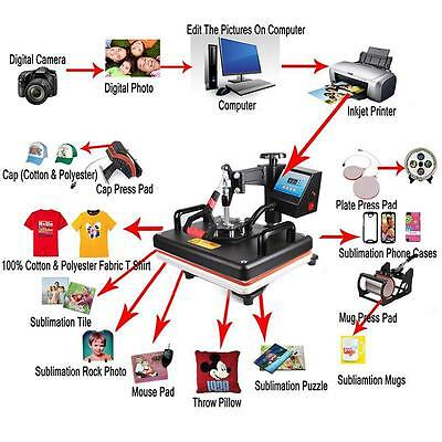 8 In 1 Digital Transfer Sublimation Heat Press Machine For T-shirt Mug Hat Plate