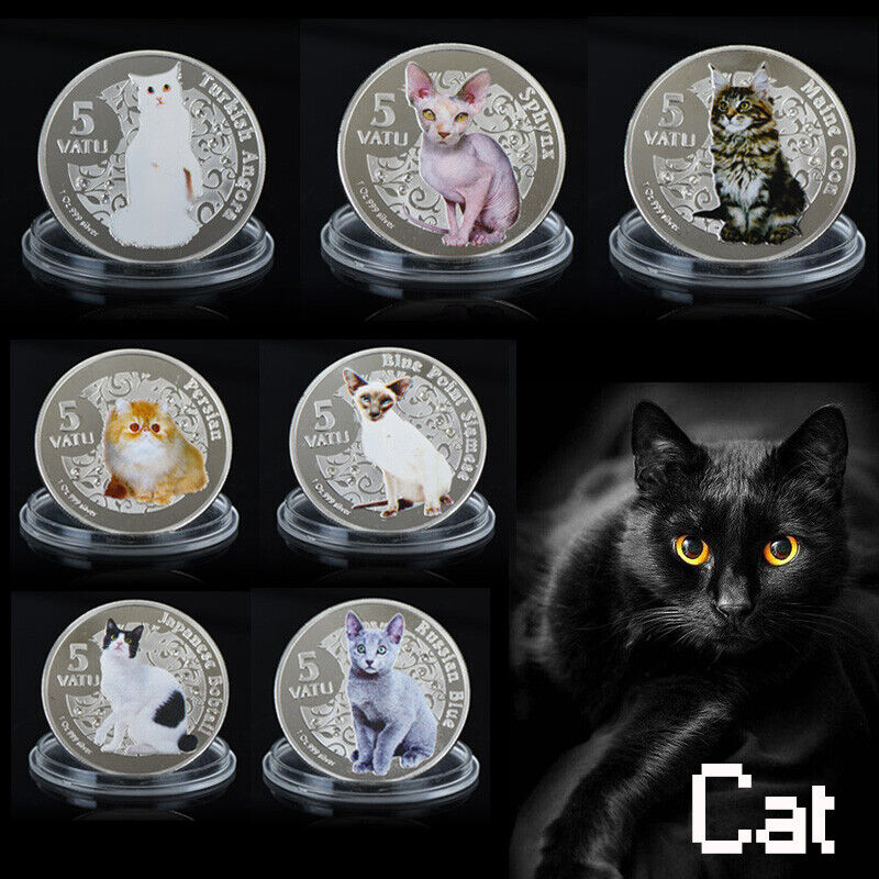 WR 7pcs Colored Cat Silver Coin Set 2015 Vanuatu Animal Collection Gifts for Her