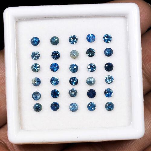 30 Pcs Natural Blue Sapphire 2.7mm Round Cut Top Quality Sparkling Gemstones Lot