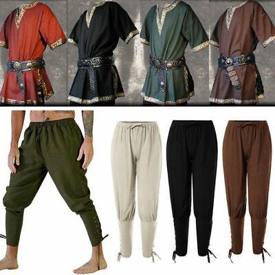 Neu Mittelalterliche Renaissance Männer Top Hosen Wikingerhose Cosplay Kostüme &