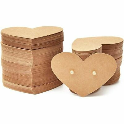 300pack Heart Shaped 2.5x1.75 In Earring Holder Cards For Display Jewelry Bulk