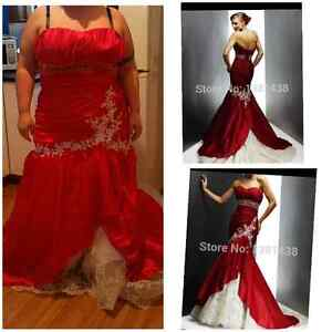 100 obo formal red and white wedding gown fits size 22 to 26