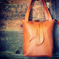 Handmade leather handbags in our Montreal shop