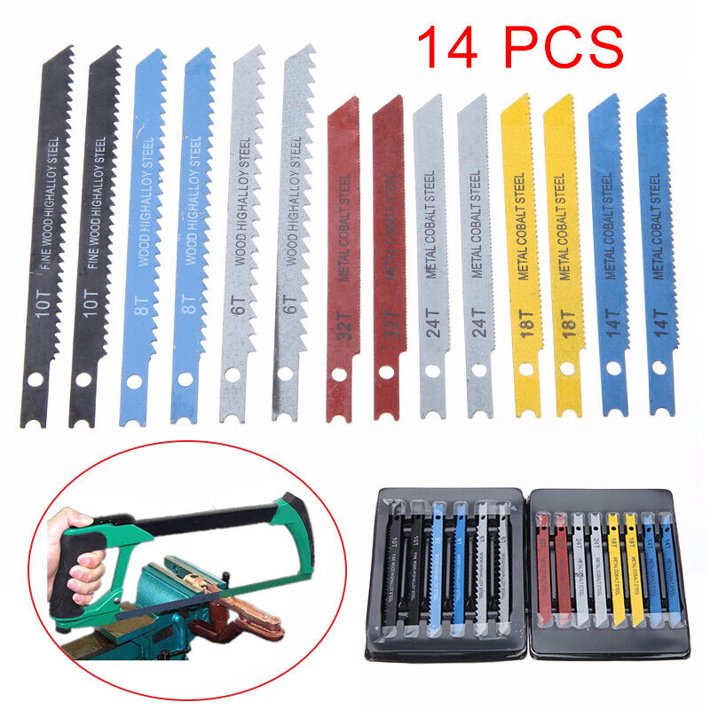 US 14Pcs Assorted U-shank Jigsaw Blades Metal Plastic Cut Cu