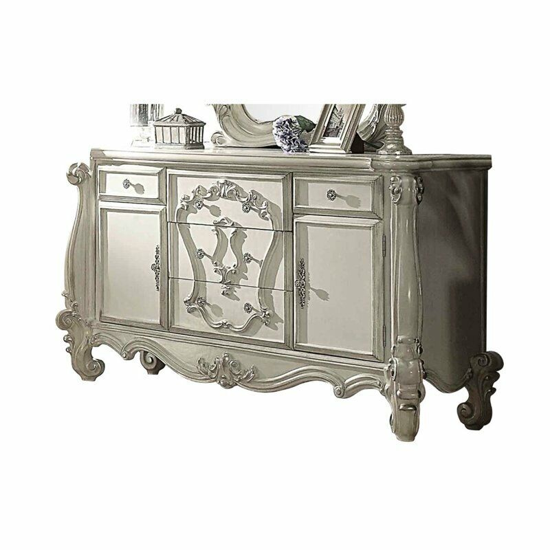 Acme Versailles 5 Drawer Dresser In Bone And White