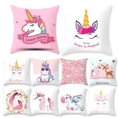Unicorn Pillow (Polyester Unicorn Pillow Case Bed Sofa Pink Printed Cushion Cover Home Decor)