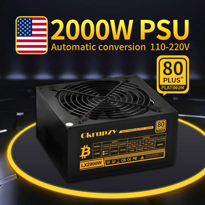 GPU Mining Power Supply 2000W 80 PLUS PSU Crypto Miner ETH 16 6+2 PCIE US STOCK