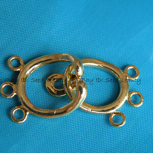 3-Strands-Yellow-Gold-Plated-toggle-Clasp-Jewelry