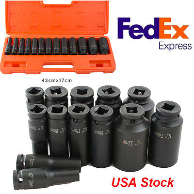 USPS Ship 13 Piece 1/2-Inch Drive Metric Deep Impact Socket Set, 10-32mm, New.