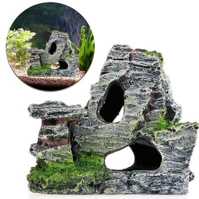 Resin Aquarium Fish Tank Ornament Rockery Hiding Cave Landscape Decor 11CM (Fish Ornaments)