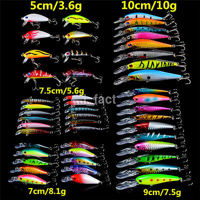 New 48pcs Best Fishing Lures Freshwater Mixed 5 Model Topwater Baits Wobblers