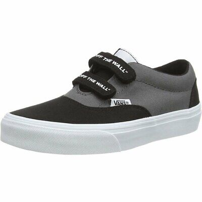 Vans Active YT Doheny V Black On The Wall/White Canvas Child Trainers Shoes