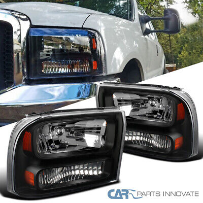 For 99-04 F250/F350 Super Duty 00-04 Excursion Pickup Black Clear 1PC Headlights Ford F250 F350 1 Pc