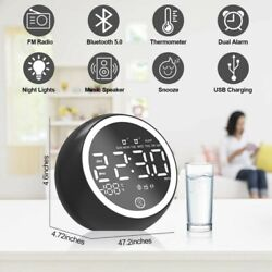 Bluetooth Speaker Digital LED Alarm Clock FM Radio Bedroom Thermometer Clock