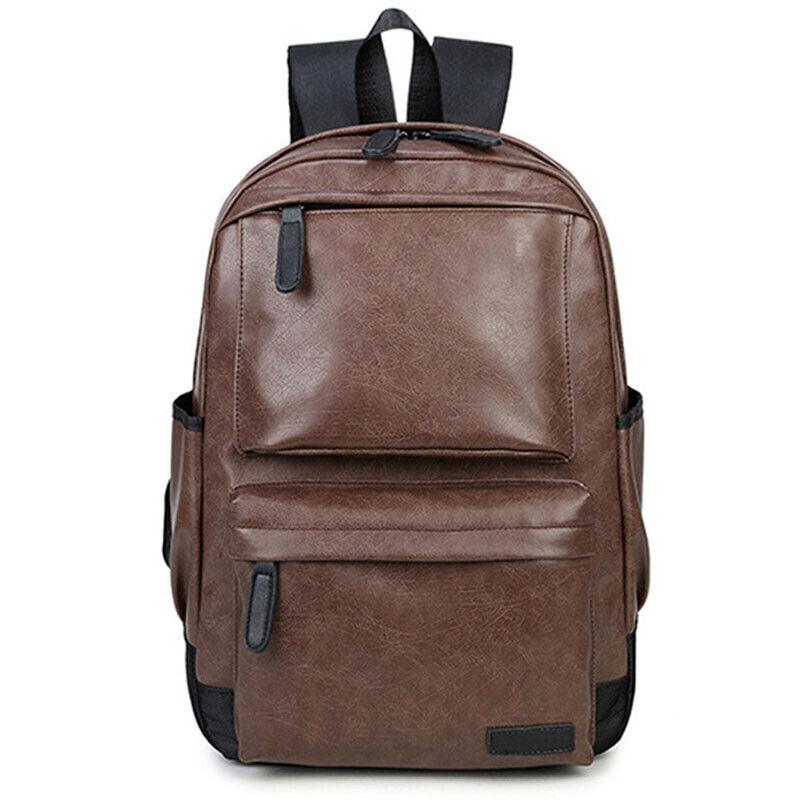 Unisex Leather Backpack Shoulder Book Travel Rucksack