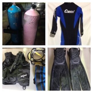 2 X SETS SCUBA DIVE GEAR BC REGS TANKS WEIGHTS FINS WETSUIT WATCH Toodyay Toodyay Area Preview