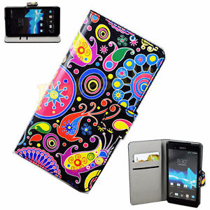PU Leather Flip Phone Case Skin Cover Stand For Sony Xperia Z