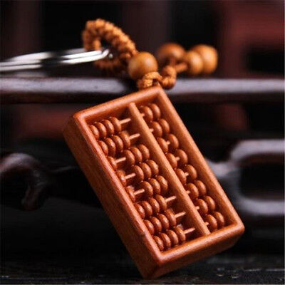 Fortune Abacus Carving Wooden Pendant Keychain Key Ring Chain For Car Handbag ♫