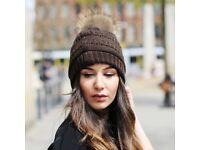 DAYMISFURRY--Knit Beanie Hat With Finn Raccoon Pom Pom In Chocolate