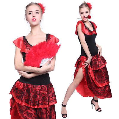 Rot Flamencotanz Kleid Spanische Tänzerin Senorita Saloon Girl Kostüm Partywear