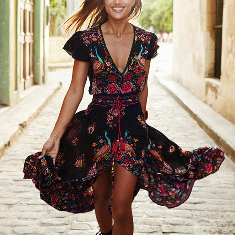 Women Sexy Boho Bohemian Long Maxi Dress Floral Sundress Summer Beach Dresses
