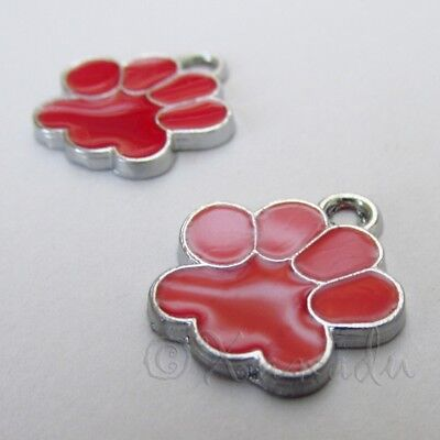 Animal Paw Print 18mm Red Enamel Charms C4554 - 2, 5 Or 10PCs - Red Paw Print