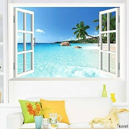 3D Window Decal WALL STICKER Home Decor Exotic Beach View Art Wallpaper Mural US 1