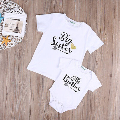Little Boy Girl - Fashion Kid Baby Girls Big Sister Little Brother Boy Romper Tops T-shirt Clothes