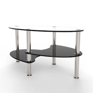 Oval Two Tier Glass Coffee Table