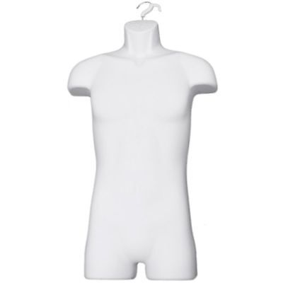 Male Full Body Torso Plastic Mannequin Wswivel Hook Hallow-back White