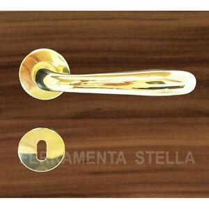 Coppia maniglie maniglia rosetta oro lucido porta porte for Maniglie porte oro