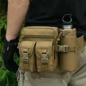 Tactical Waist Bag with Water Bottle Holder Pouch