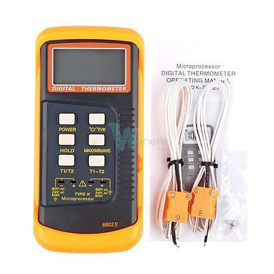 Dual Two Channel K-type Digital Thermometer Thermocouple Sensor 1300c 2372f W