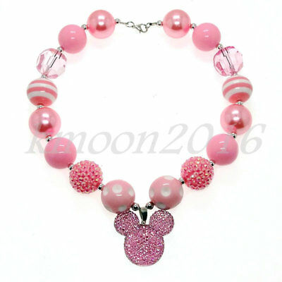New Chunky Gumball Beads Bubblegum Pink Mickey Pendant Necklace For Kid gift (Bubblegum Necklace Beads)